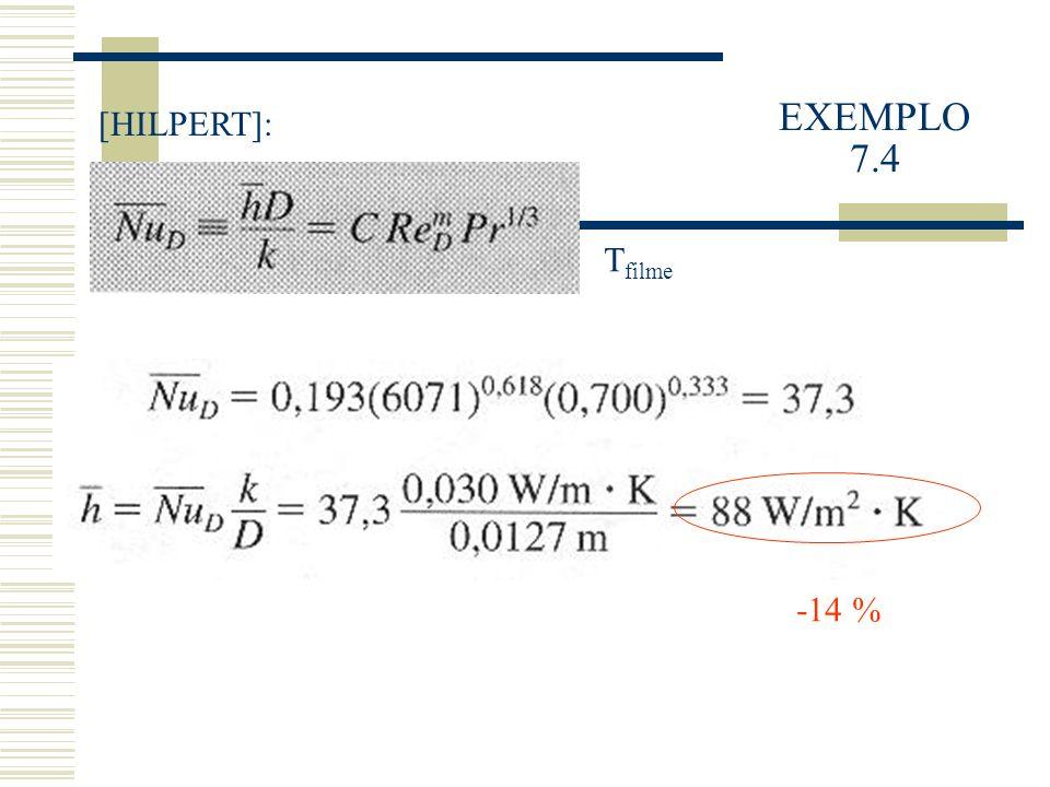 EXEMPLO 7.4 [HILPERT]: -14 % T filme
