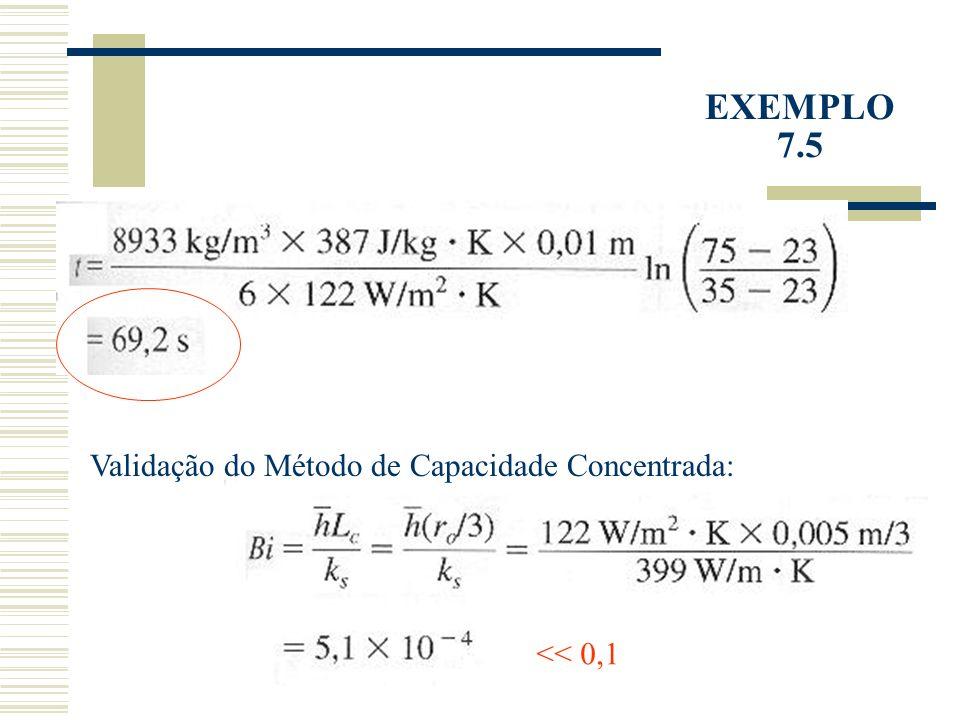 EXEMPLO 7.5 Validação do Método de Capacidade Concentrada: << 0,1