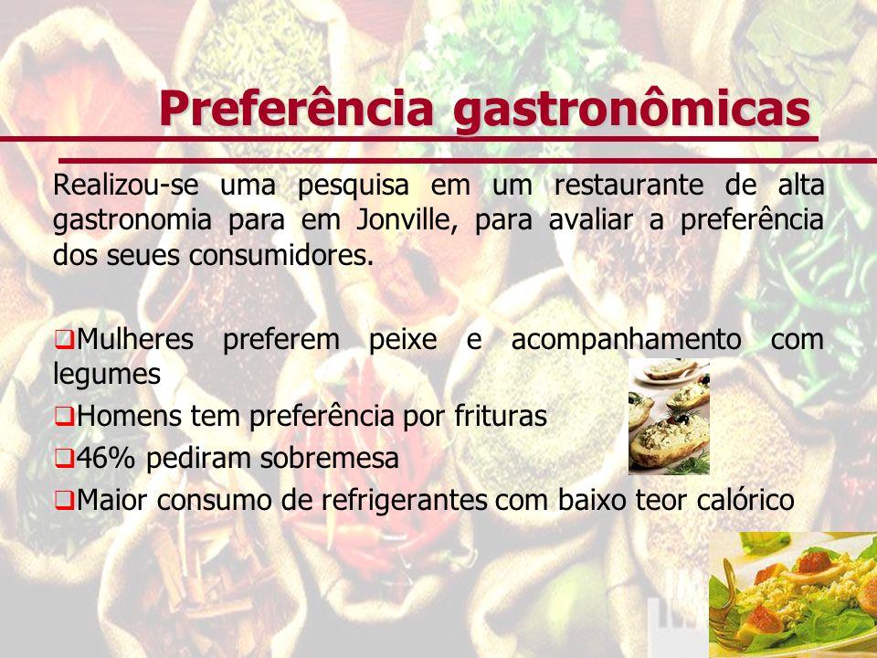 Preferência gastronômicas Realizou-se uma pesquisa em um restaurante de alta gastronomia para em Jonville, para avaliar a preferência dos seues consum