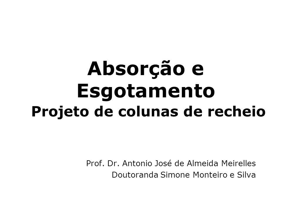 Absorção e Esgotamento Projeto de colunas de recheio Prof. Dr. Antonio José de Almeida Meirelles Doutoranda Simone Monteiro e Silva