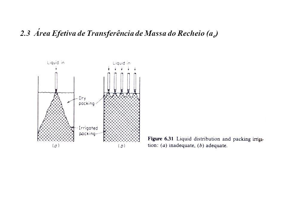 2.3 Área Efetiva de Transferência de Massa do Recheio (a e )