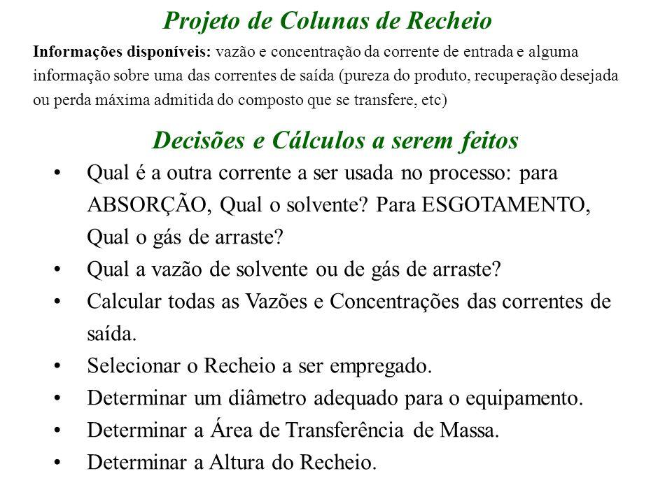Projeto de Colunas de Recheio Qual é a outra corrente a ser usada no processo: para ABSORÇÃO, Qual o solvente? Para ESGOTAMENTO, Qual o gás de arraste