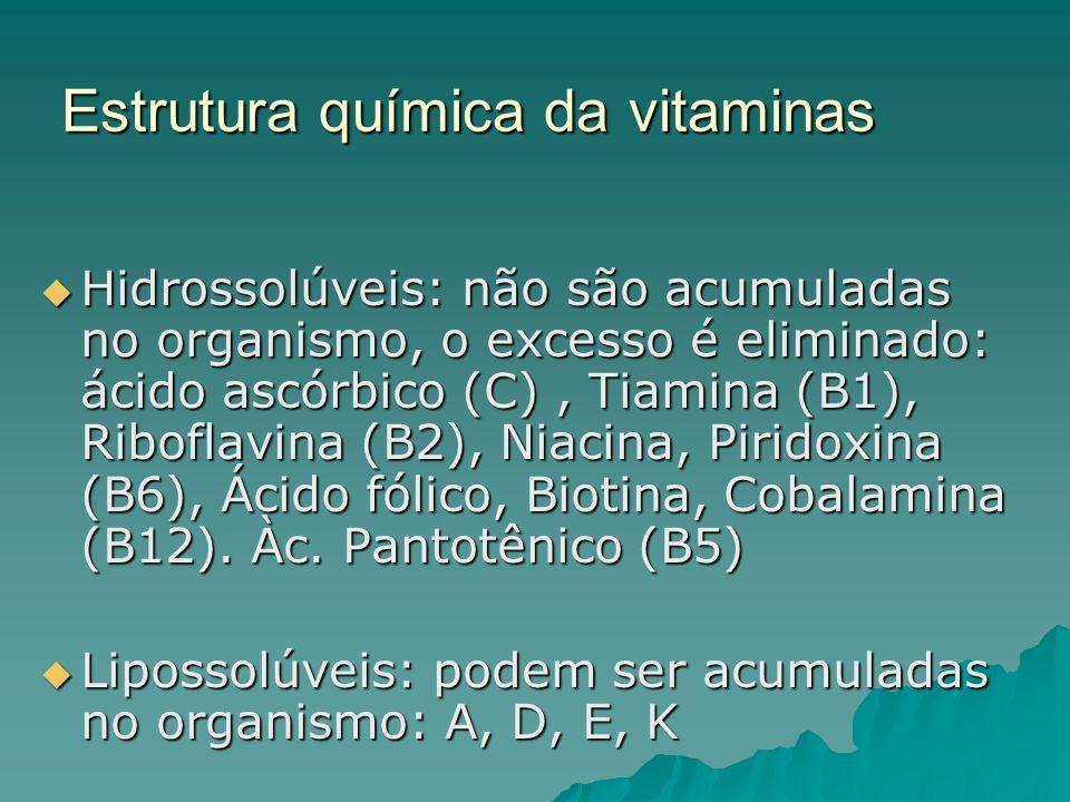 Estrutura química da vitaminas Hidrossolúveis: não são acumuladas no organismo, o excesso é eliminado: ácido ascórbico (C), Tiamina (B1), Riboflavina