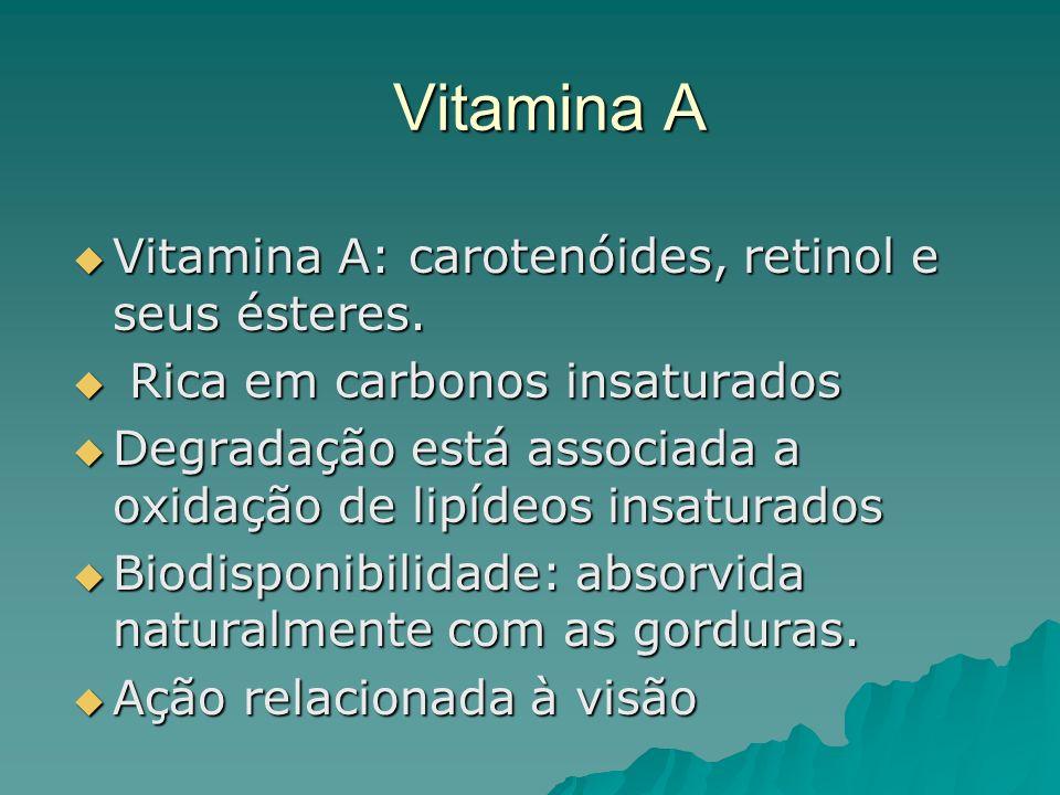 Vitamina A Vitamina A: carotenóides, retinol e seus ésteres. Vitamina A: carotenóides, retinol e seus ésteres. Rica em carbonos insaturados Rica em ca