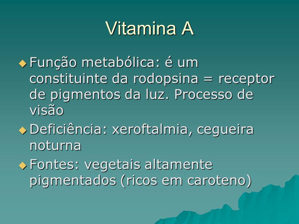 Vitamina A Função metabólica: é um constituinte da rodopsina = receptor de pigmentos da luz. Processo de visão Função metabólica: é um constituinte da