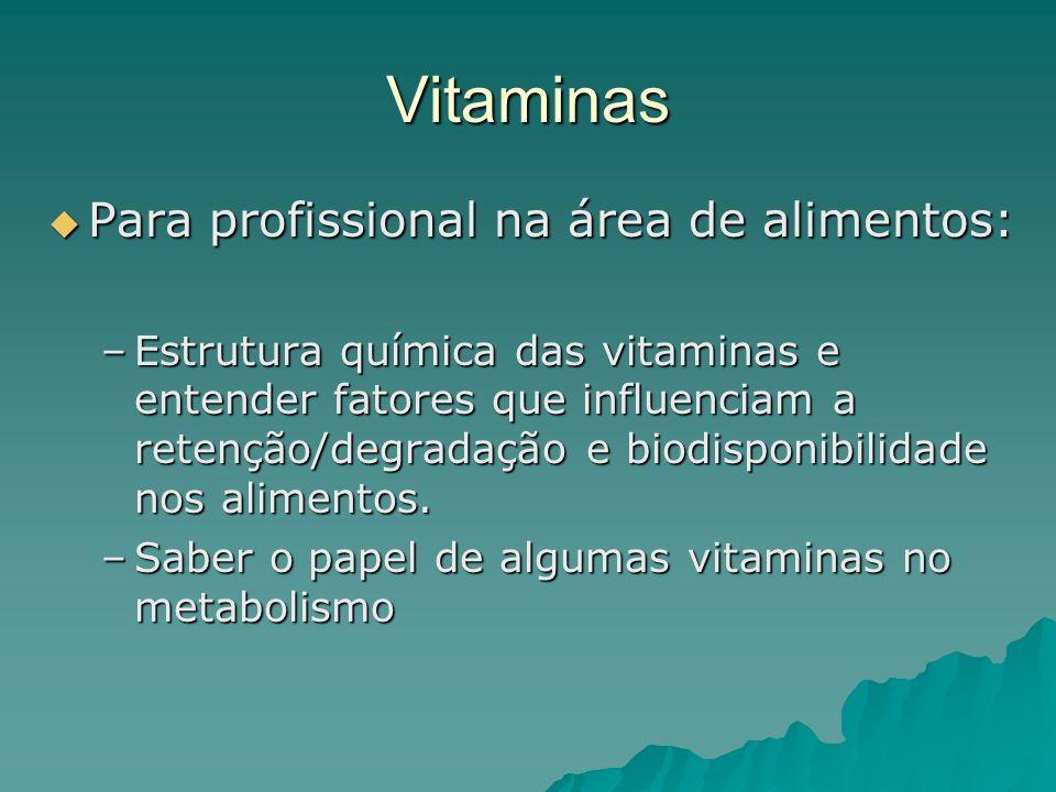 Vitaminas Para profissional na área de alimentos: Para profissional na área de alimentos: –Estrutura química das vitaminas e entender fatores que infl