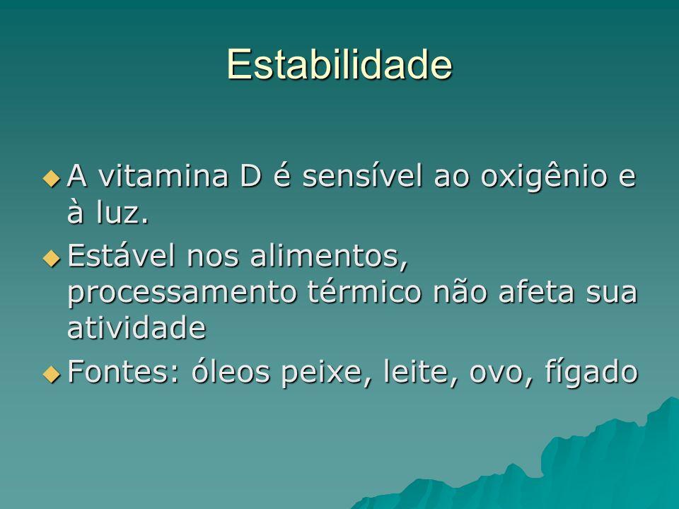 Estabilidade A vitamina D é sensível ao oxigênio e à luz. A vitamina D é sensível ao oxigênio e à luz. Estável nos alimentos, processamento térmico nã