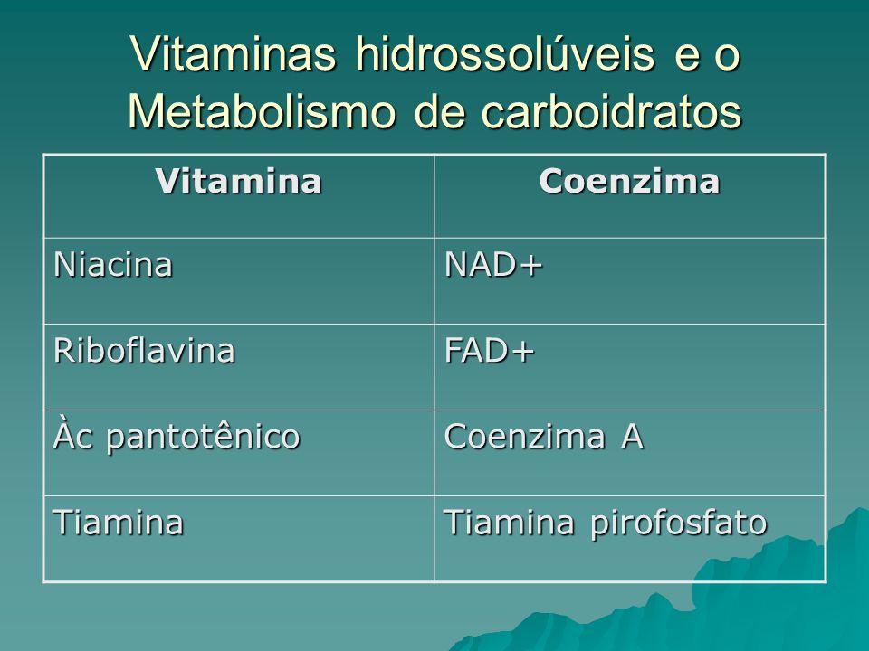 Vitaminas hidrossolúveis e o Metabolismo de carboidratos VitaminaCoenzima NiacinaNAD+ RiboflavinaFAD+ Àc pantotênico Coenzima A Tiamina Tiamina pirofo