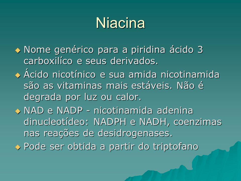 Niacina Nome genérico para a piridina ácido 3 carboxilíco e seus derivados. Nome genérico para a piridina ácido 3 carboxilíco e seus derivados. Ácido