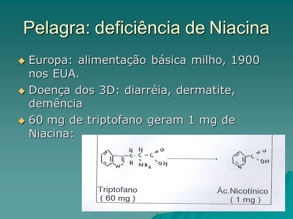 Pelagra: deficiência de Niacina Europa: alimentação básica milho, 1900 nos EUA. Europa: alimentação básica milho, 1900 nos EUA. Doença dos 3D: diarréi