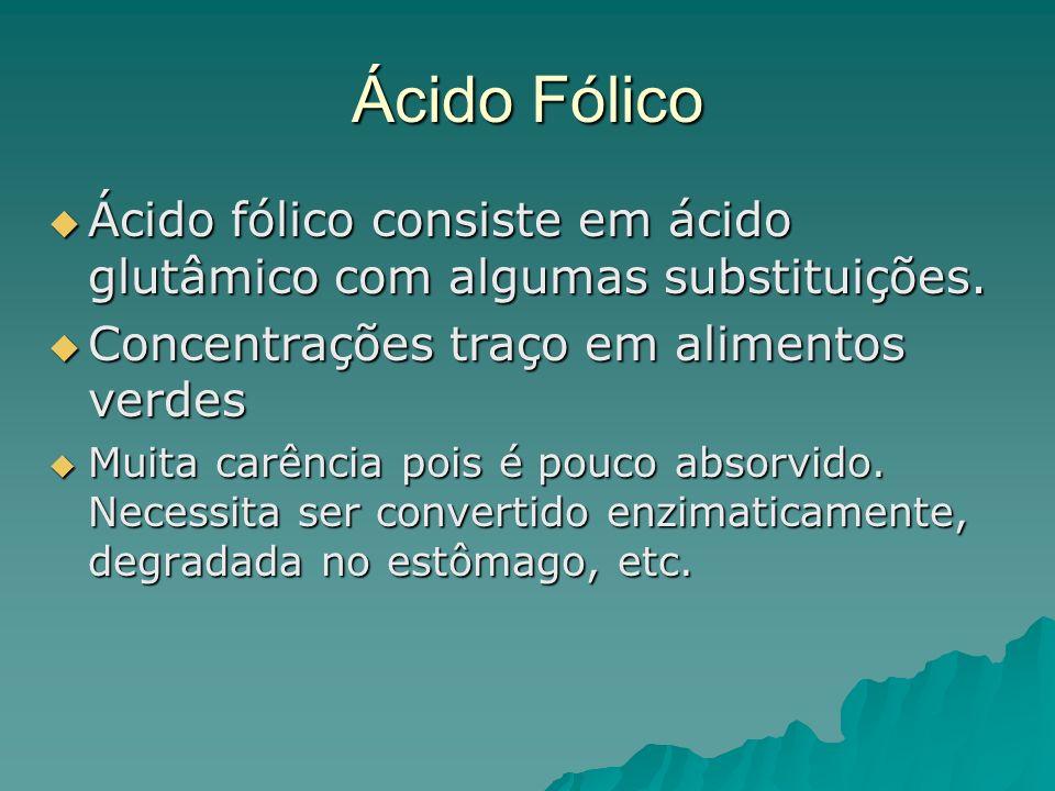 Ácido Fólico Ácido fólico consiste em ácido glutâmico com algumas substituições. Ácido fólico consiste em ácido glutâmico com algumas substituições. C