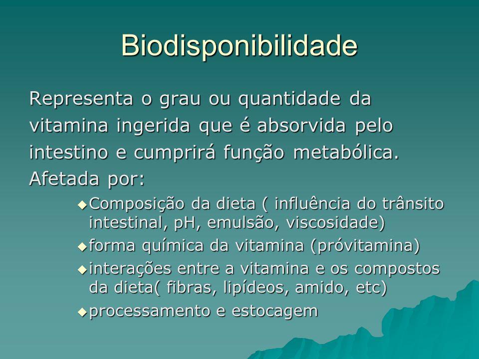 Biodisponibilidade Representa o grau ou quantidade da vitamina ingerida que é absorvida pelo intestino e cumprirá função metabólica. Afetada por: Comp