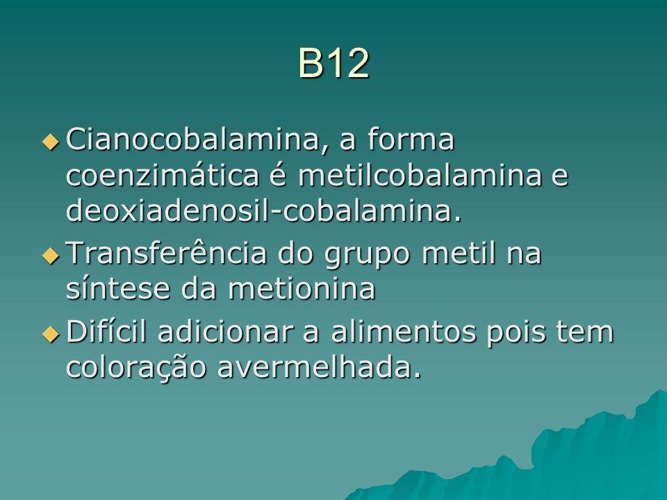 B12 Cianocobalamina, a forma coenzimática é metilcobalamina e deoxiadenosil-cobalamina. Cianocobalamina, a forma coenzimática é metilcobalamina e deox