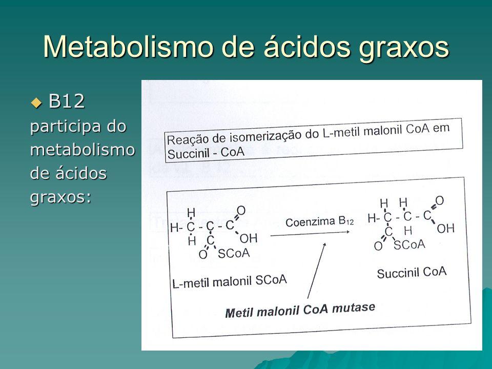 Metabolismo de ácidos graxos B12 B12 participa do metabolismo de ácidos graxos: