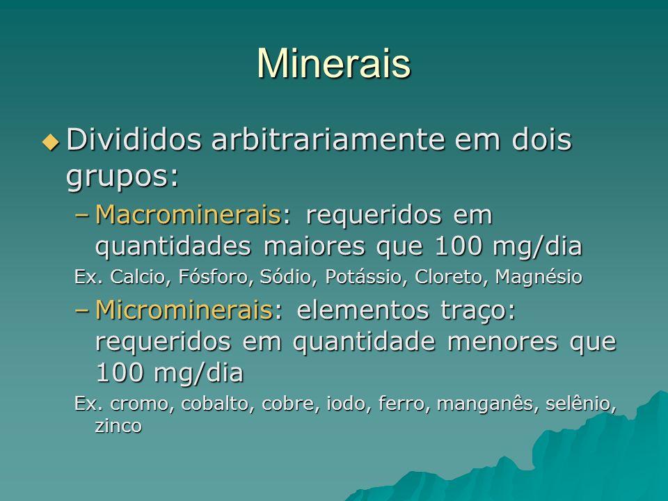 Minerais Divididos arbitrariamente em dois grupos: Divididos arbitrariamente em dois grupos: –Macrominerais: requeridos em quantidades maiores que 100