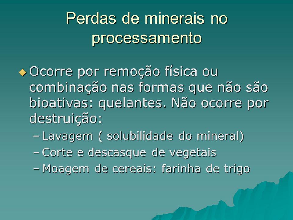 Perdas de minerais no processamento Ocorre por remoção física ou combinação nas formas que não são bioativas: quelantes. Não ocorre por destruição: Oc