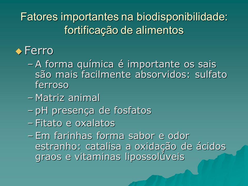 Fatores importantes na biodisponibilidade: fortificação de alimentos Ferro Ferro –A forma química é importante os sais são mais facilmente absorvidos: