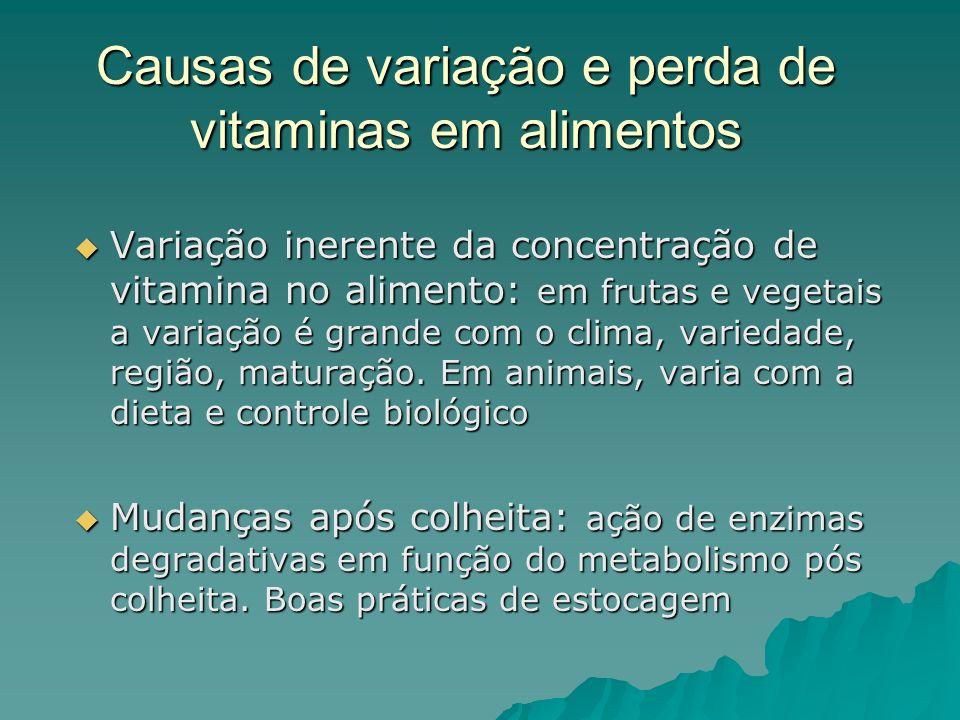 Causas de variação e perda de vitaminas em alimentos Variação inerente da concentração de vitamina no alimento: em frutas e vegetais a variação é gran