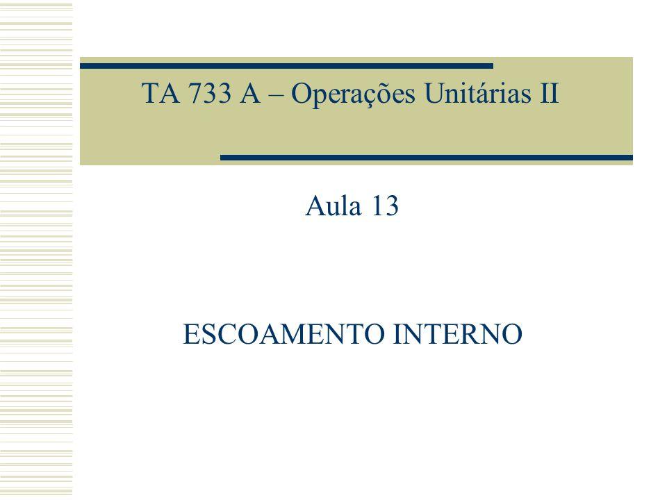 TA 733 A – Operações Unitárias II Aula 13 ESCOAMENTO INTERNO