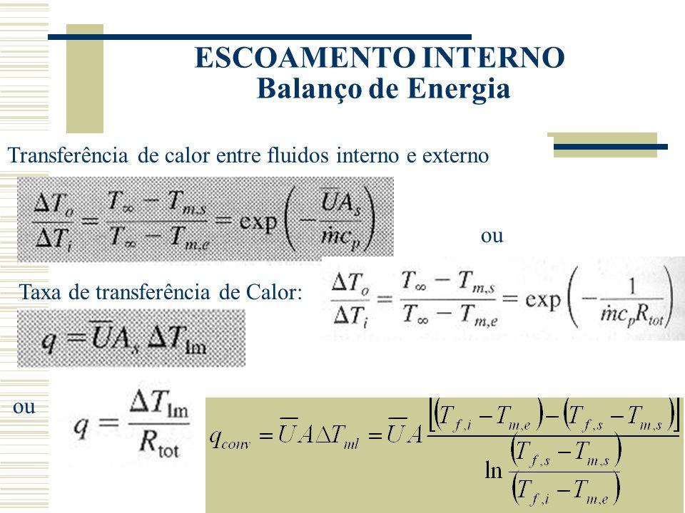 ESCOAMENTO INTERNO Balanço de Energia Transferência de calor entre fluidos interno e externo Taxa de transferência de Calor: ou