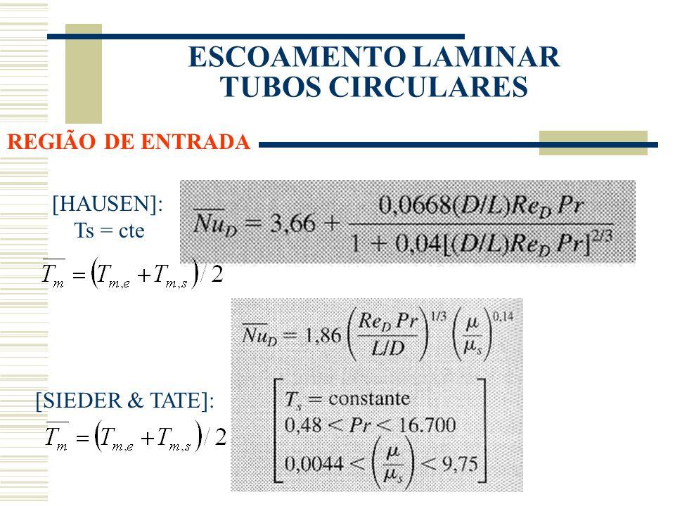 ESCOAMENTO LAMINAR TUBOS CIRCULARES [HAUSEN]: Ts = cte [SIEDER & TATE]: