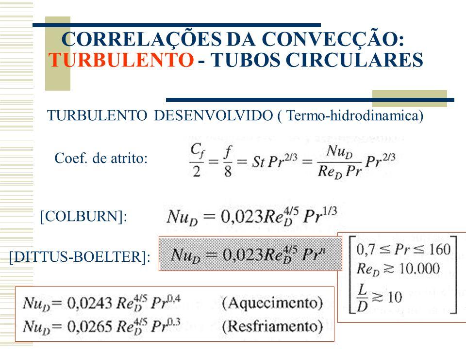 CORRELAÇÕES DA CONVECÇÃO: TURBULENTO - TUBOS CIRCULARES TURBULENTO DESENVOLVIDO ( Termo-hidrodinamica) Coef. de atrito: [COLBURN]: [DITTUS-BOELTER]:
