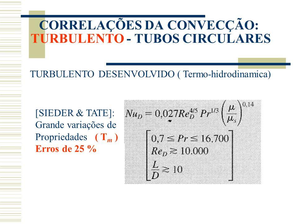 CORRELAÇÕES DA CONVECÇÃO: TURBULENTO - TUBOS CIRCULARES TURBULENTO DESENVOLVIDO ( Termo-hidrodinamica) [SIEDER & TATE]: Grande variações de Propriedad
