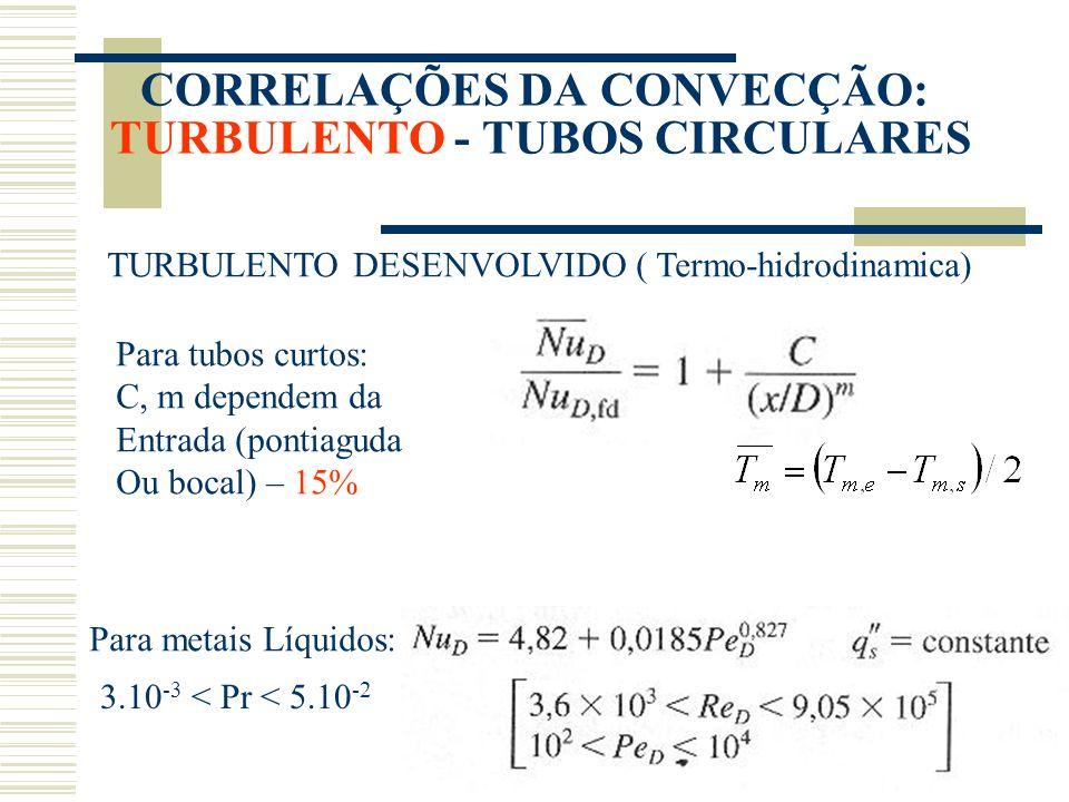 CORRELAÇÕES DA CONVECÇÃO: TURBULENTO - TUBOS CIRCULARES TURBULENTO DESENVOLVIDO ( Termo-hidrodinamica) Para tubos curtos: C, m dependem da Entrada (po