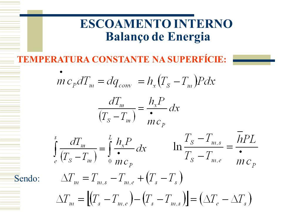 ESCOAMENTO INTERNO Balanço de Energia TEMPERATURA CONSTANTE NA SUPERFÍCIE: Sendo: