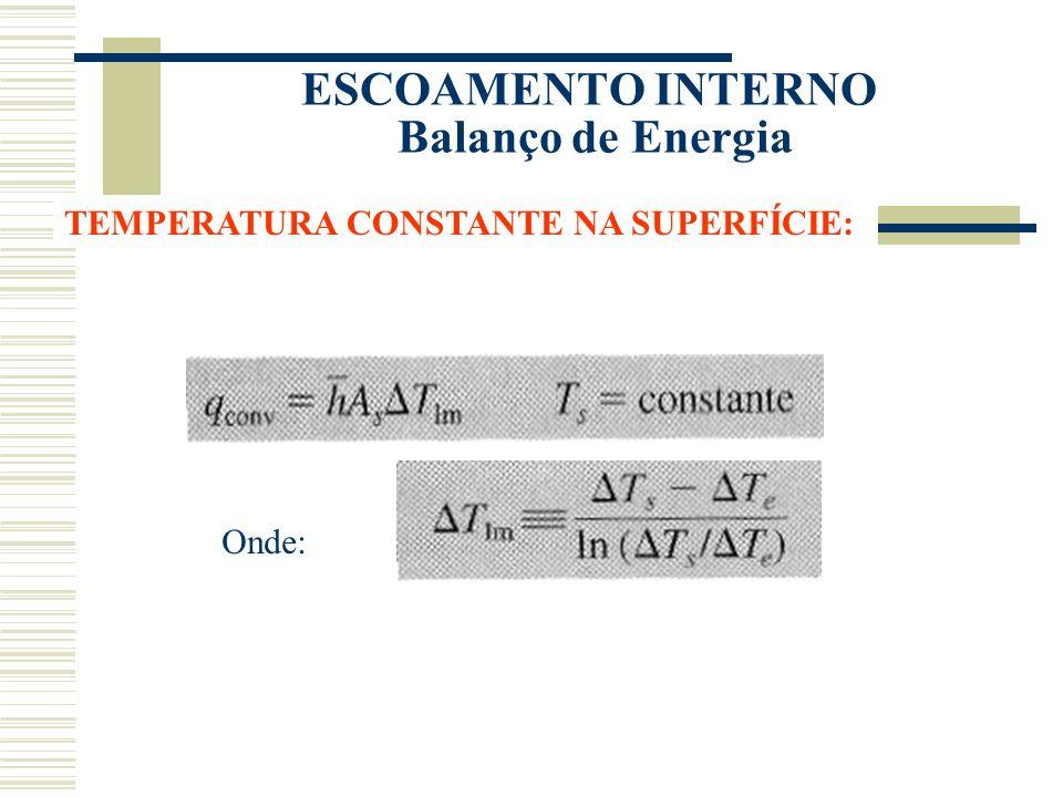 ESCOAMENTO INTERNO Balanço de Energia TEMPERATURA CONSTANTE NA SUPERFÍCIE: Onde: