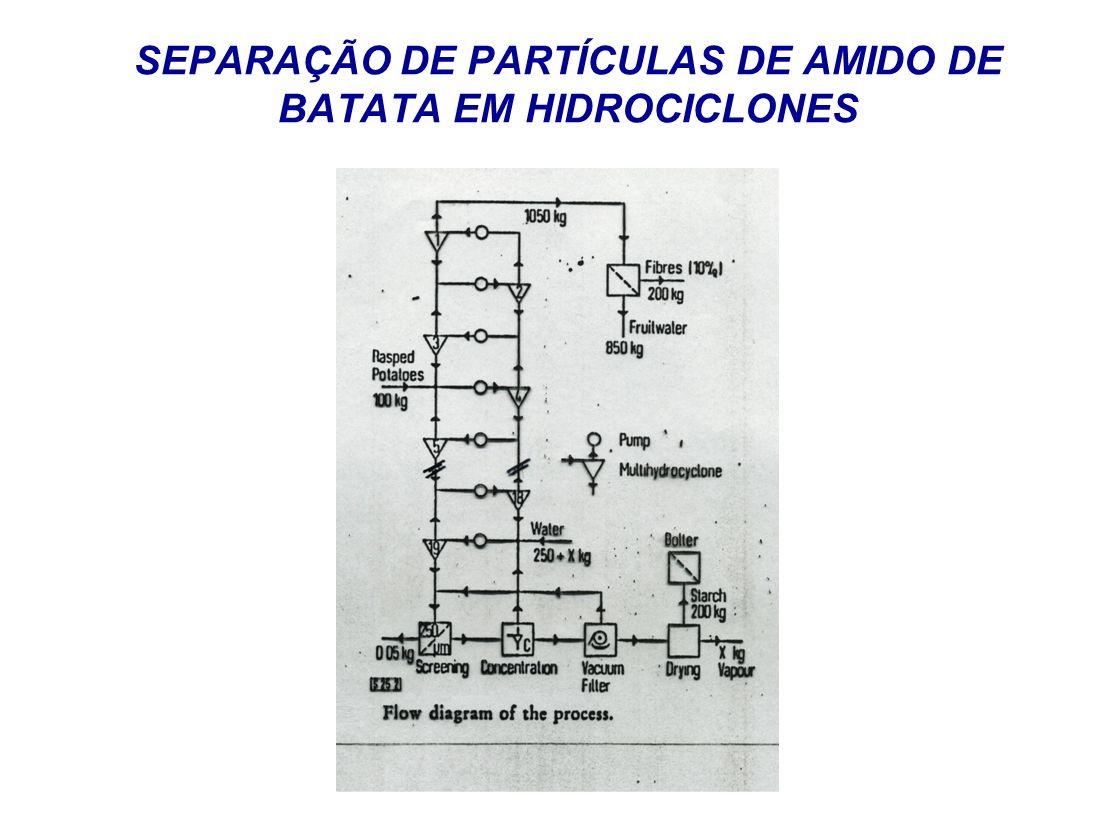 SEPARAÇÃO DE PARTÍCULAS DE AMIDO DE BATATA EM HIDROCICLONES