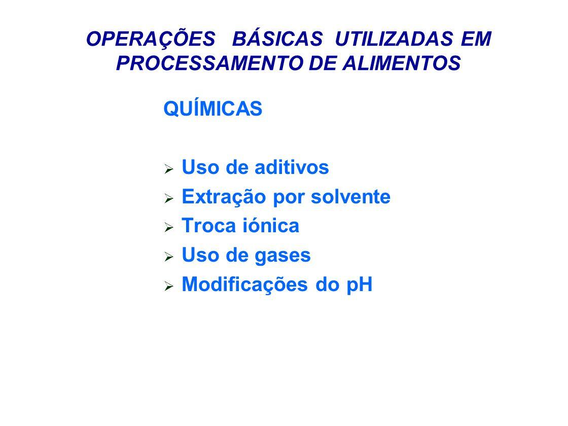 OPERAÇÕES BÁSICAS UTILIZADAS EM PROCESSAMENTO DE ALIMENTOS QUÍMICAS Uso de aditivos Extração por solvente Troca iónica Uso de gases Modificações do pH