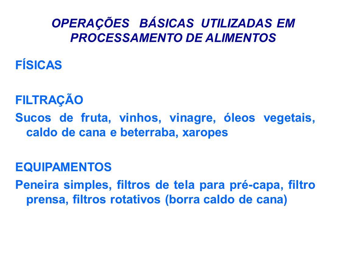OPERAÇÕES BÁSICAS UTILIZADAS EM PROCESSAMENTO DE ALIMENTOS FÍSICAS FILTRAÇÃO Sucos de fruta, vinhos, vinagre, óleos vegetais, caldo de cana e beterrab