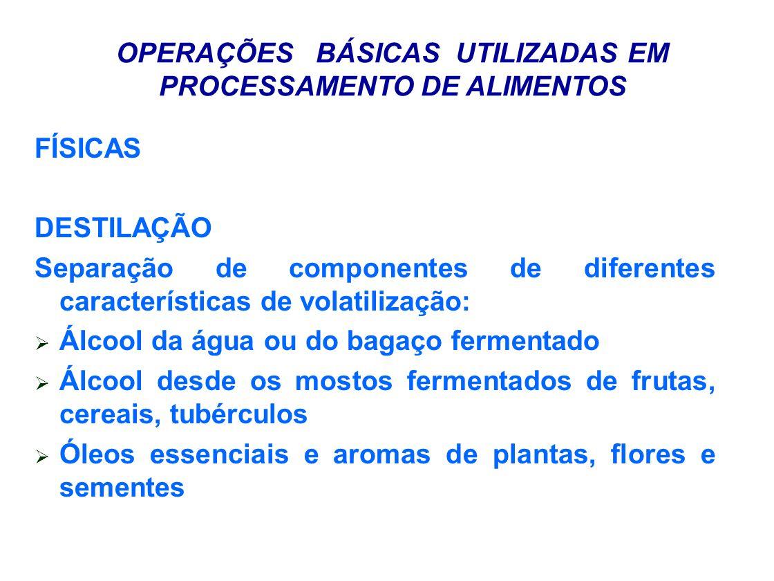 OPERAÇÕES BÁSICAS UTILIZADAS EM PROCESSAMENTO DE ALIMENTOS FÍSICAS CENTRIFUGAÇÃO Clarificação de sucos de frutas Separação de polpas Separação de óleos e gorduras Separação de cristais de açúcar Separação de fibras Separação de proteínas precipitadas, amidos EQUIPAMENTOS: Centrífugas de cesto, discos, discos, superdecanter.