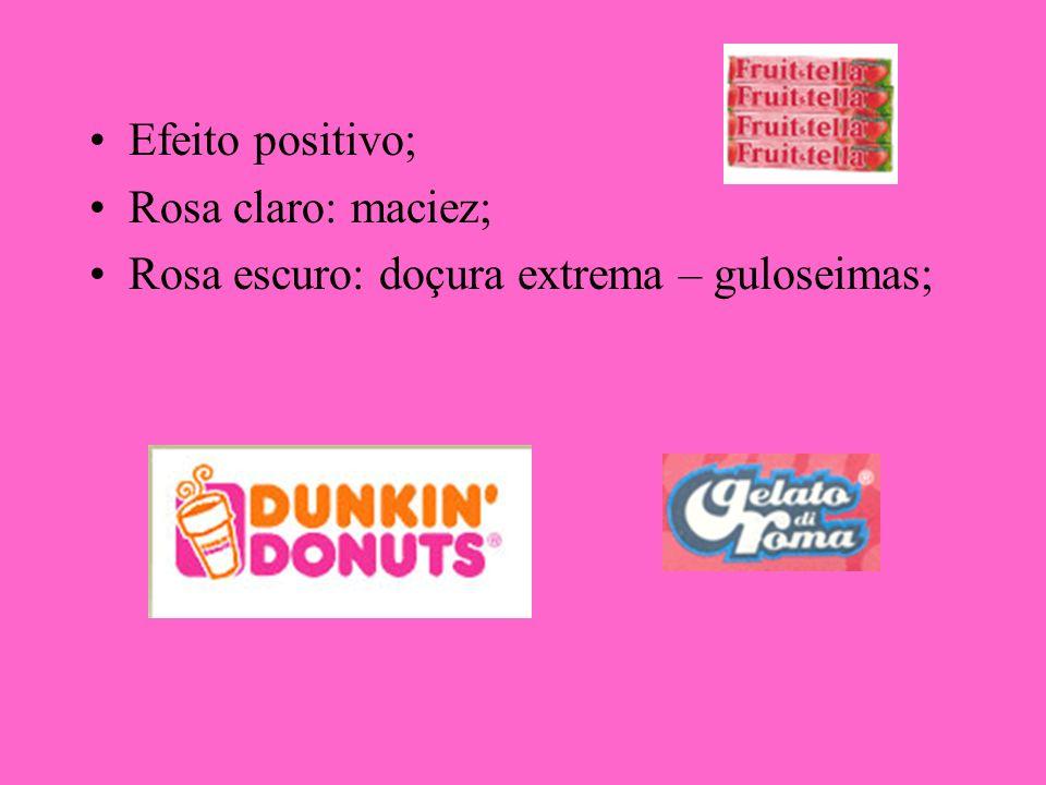 Efeito positivo; Rosa claro: maciez; Rosa escuro: doçura extrema – guloseimas;