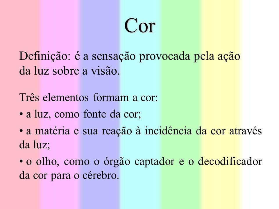 Cor Três elementos formam a cor: a luz, como fonte da cor; a matéria e sua reação à incidência da cor através da luz; o olho, como o órgão captador e