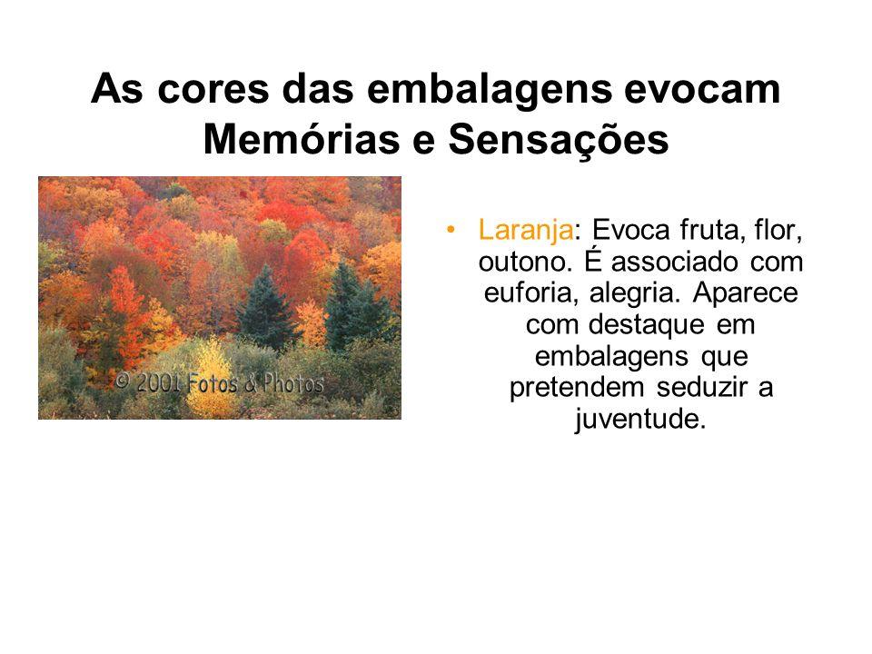 As cores das embalagens evocam Memórias e Sensações Laranja: Evoca fruta, flor, outono. É associado com euforia, alegria. Aparece com destaque em emba