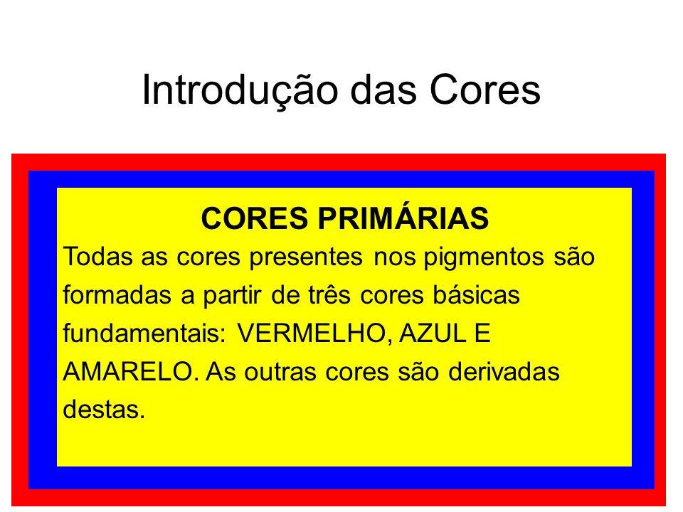 Introdução das Cores CORES PRIMÁRIAS Todas as cores presentes nos pigmentos são formadas a partir de três cores básicas fundamentais: VERMELHO, AZUL E