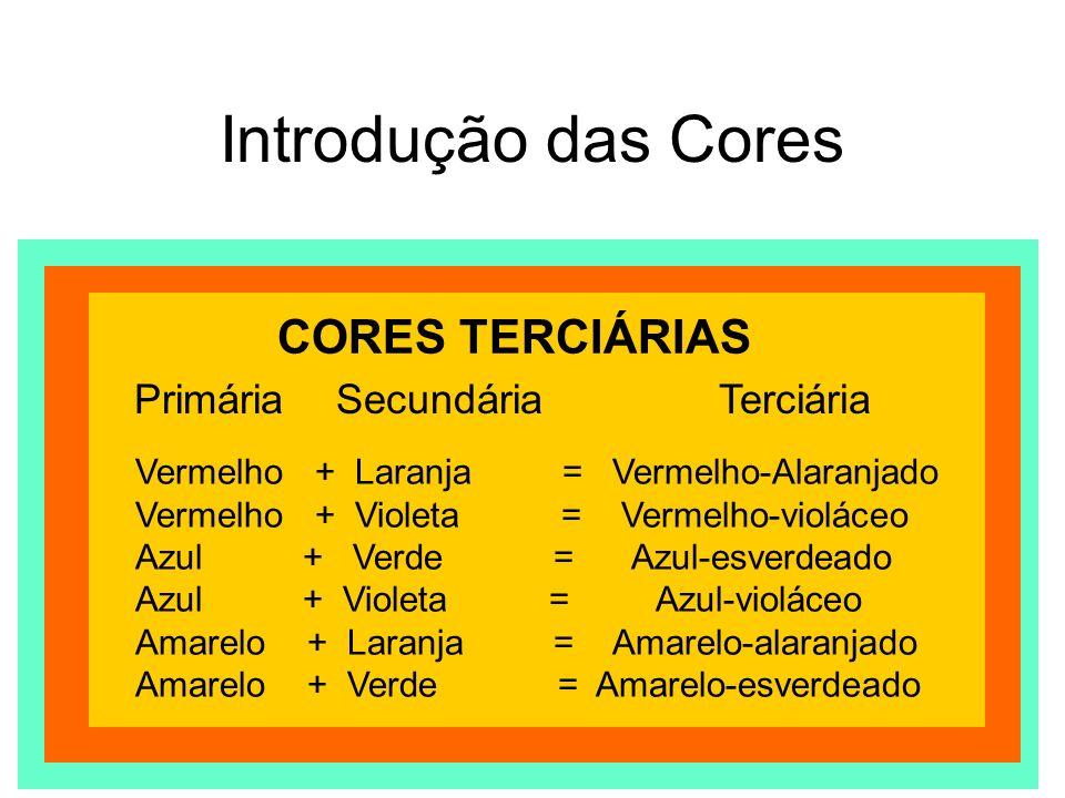 Introdução das Cores CORES TERCIÁRIAS Primária Vermelho + Laranja = Vermelho-Alaranjado Vermelho + Violeta = Vermelho-violáceo Azul + Verde = Azul-esv