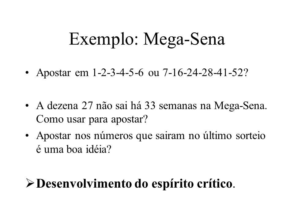 Exemplo: Mega-Sena Apostar em 1-2-3-4-5-6 ou 7-16-24-28-41-52? A dezena 27 não sai há 33 semanas na Mega-Sena. Como usar para apostar? Apostar nos núm