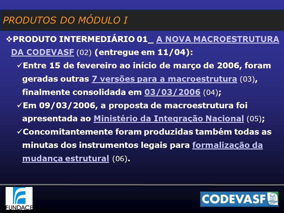PRODUTOS DO MÓDULO I PRODUTO INTERMEDIÁRIO 01_ A NOVA MACROESTRUTURA DA CODEVASF (02) (entregue em 11/04):A NOVA MACROESTRUTURA DA CODEVASF Entre 15 de fevereiro ao início de março de 2006, foram geradas outras 7 versões para a macroestrutura (03), finalmente consolidada em 03/03/2006 (04) ;7 versões para a macroestrutura03/03/2006 Em 09/03/2006, a proposta de macroestrutura foi apresentada ao Ministério da Integração Nacional (05) ;Ministério da Integração Nacional Concomitantemente foram produzidas também todas as minutas dos instrumentos legais para formalização da mudança estrutural (06).formalização da mudança estrutural