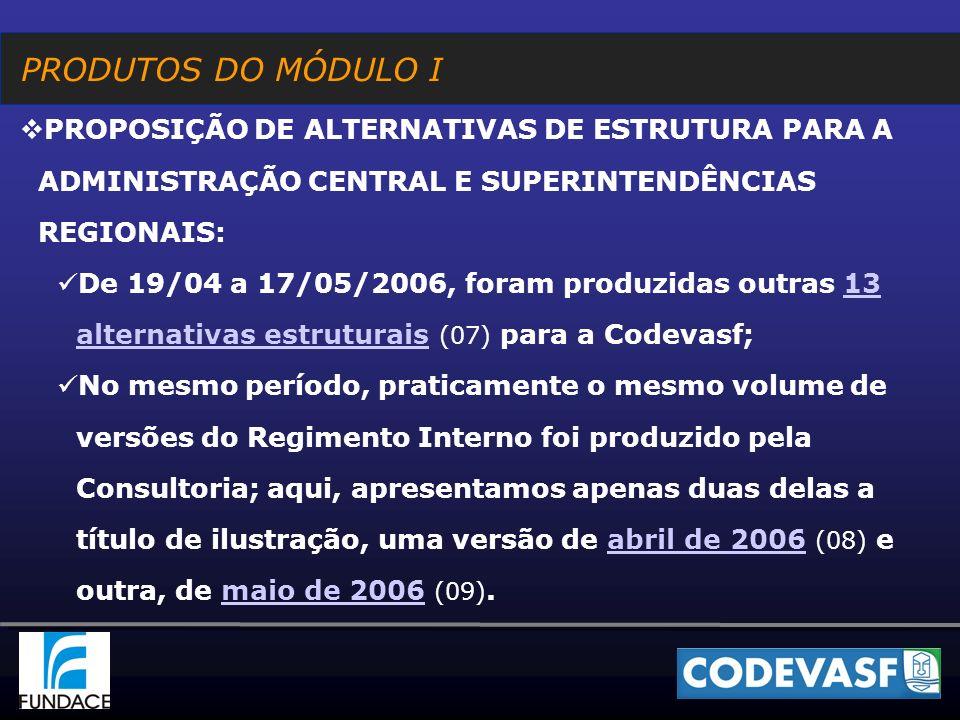 PRODUTOS DO MÓDULO I PROPOSIÇÃO DE ALTERNATIVAS DE ESTRUTURA PARA A ADMINISTRAÇÃO CENTRAL E SUPERINTENDÊNCIAS REGIONAIS: De 19/04 a 17/05/2006, foram produzidas outras 13 alternativas estruturais (07) para a Codevasf;13 alternativas estruturais No mesmo período, praticamente o mesmo volume de versões do Regimento Interno foi produzido pela Consultoria; aqui, apresentamos apenas duas delas a título de ilustração, uma versão de abril de 2006 (08) e outra, de maio de 2006 (09).abril de 2006maio de 2006