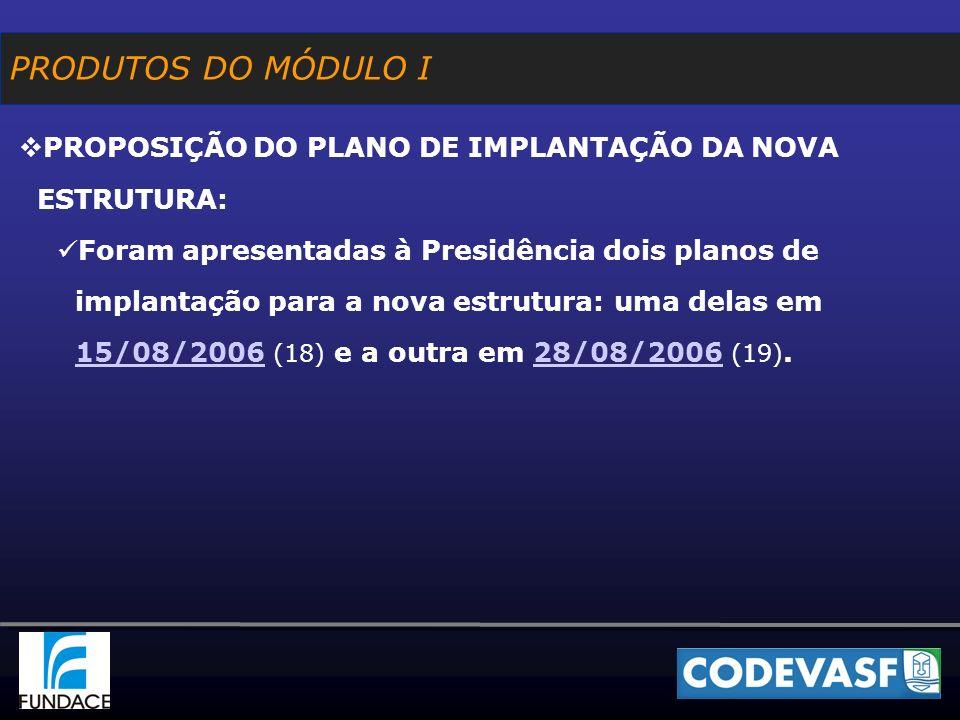 PROPOSIÇÃO DO PLANO DE IMPLANTAÇÃO DA NOVA ESTRUTURA: Foram apresentadas à Presidência dois planos de implantação para a nova estrutura: uma delas em 15/08/2006 (18) e a outra em 28/08/2006 (19).