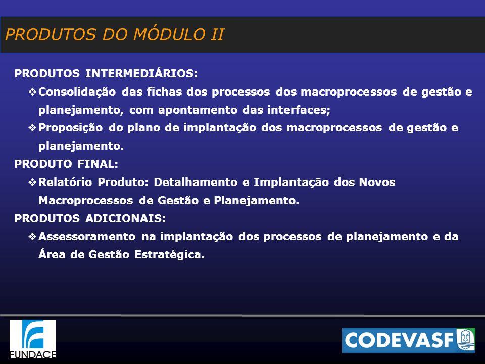 PRODUTOS DO MÓDULO II PRODUTOS INTERMEDIÁRIOS: Consolidação das fichas dos processos dos macroprocessos de gestão e planejamento, com apontamento das interfaces; Proposição do plano de implantação dos macroprocessos de gestão e planejamento.