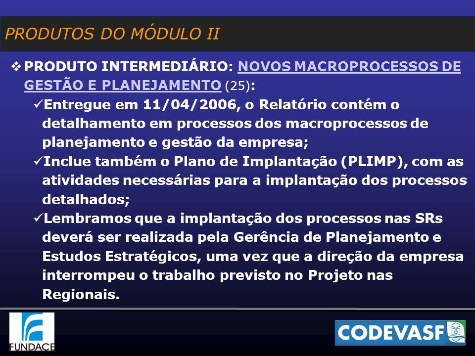 PRODUTO INTERMEDIÁRIO: NOVOS MACROPROCESSOS DE GESTÃO E PLANEJAMENTO (25) :NOVOS MACROPROCESSOS DE GESTÃO E PLANEJAMENTO Entregue em 11/04/2006, o Relatório contém o detalhamento em processos dos macroprocessos de planejamento e gestão da empresa; Inclue também o Plano de Implantação (PLIMP), com as atividades necessárias para a implantação dos processos detalhados; Lembramos que a implantação dos processos nas SRs deverá ser realizada pela Gerência de Planejamento e Estudos Estratégicos, uma vez que a direção da empresa interrompeu o trabalho previsto no Projeto nas Regionais.