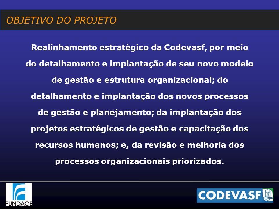 MÓDULOS DO PROJETO O projeto de realinhamento estratégico da Codevasf foi organizado em 5 módulos: I.Implantação do novo modelo de gestão e detalhamento da nova estrutura organizacional II.Detalhamento e implantação dos novos processos de gestão e planejamento III.Detalhamento e implantação dos projetos estratégicos de gestão dos recursos humanos IV.Construção de novos processos e revisão dos atuais processos V.Desenvolvimento de programa de capacitação para o desenvolvimento regional