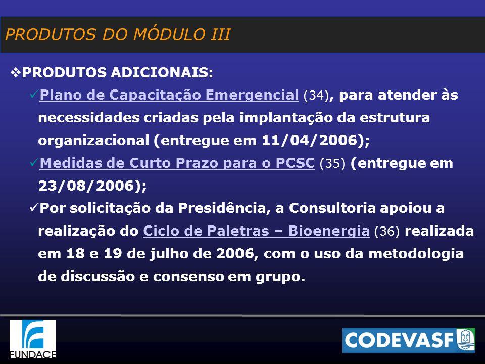 PRODUTOS ADICIONAIS: Plano de Capacitação Emergencial (34), para atender às necessidades criadas pela implantação da estrutura organizacional (entregue em 11/04/2006); Plano de Capacitação Emergencial Medidas de Curto Prazo para o PCSC (35) (entregue em 23/08/2006); Medidas de Curto Prazo para o PCSC Por solicitação da Presidência, a Consultoria apoiou a realização do Ciclo de Paletras – Bioenergia (36) realizada em 18 e 19 de julho de 2006, com o uso da metodologia de discussão e consenso em grupo.Ciclo de Paletras – Bioenergia PRODUTOS DO MÓDULO III