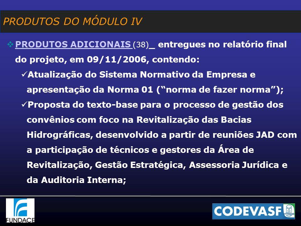PRODUTOS DO MÓDULO IV PRODUTOS ADICIONAIS (38) _ entregues no relatório final do projeto, em 09/11/2006, contendo: PRODUTOS ADICIONAIS Atualização do Sistema Normativo da Empresa e apresentação da Norma 01 (norma de fazer norma); Proposta do texto-base para o processo de gestão dos convênios com foco na Revitalização das Bacias Hidrográficas, desenvolvido a partir de reuniões JAD com a participação de técnicos e gestores da Área de Revitalização, Gestão Estratégica, Assessoria Jurídica e da Auditoria Interna;