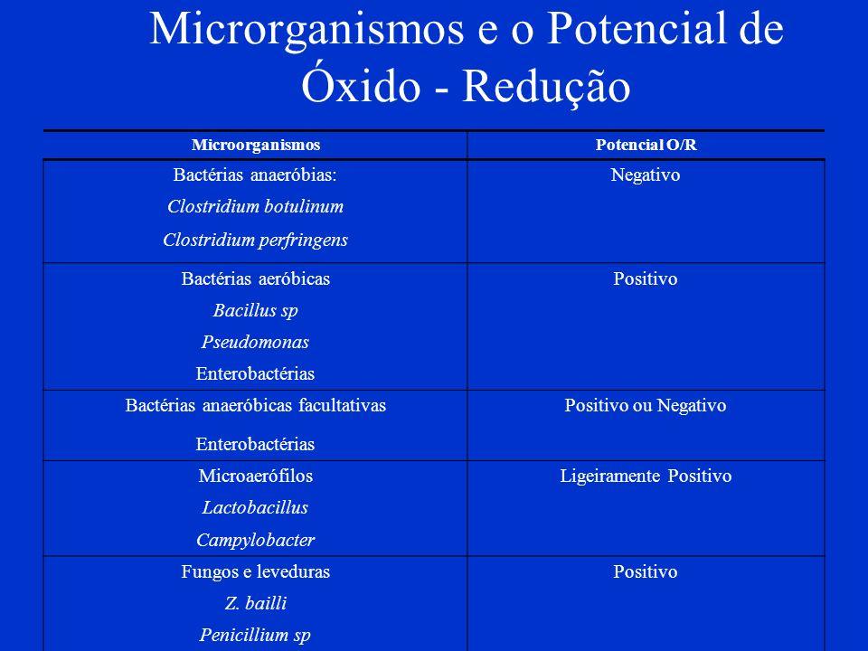 Microrganismos e o Potencial de Óxido - Redução MicroorganismosPotencial O/R Bactérias anaeróbias:Negativo Clostridium botulinum Clostridium perfringe