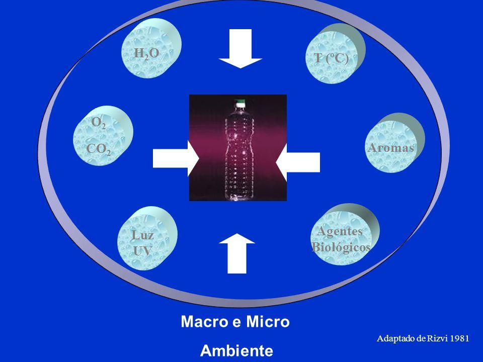 O 2 CO 2 H2OH2O T (ºC) Aromas Agentes Biológicos Luz UV Adaptado de Rizvi 1981 Macro e Micro Ambiente
